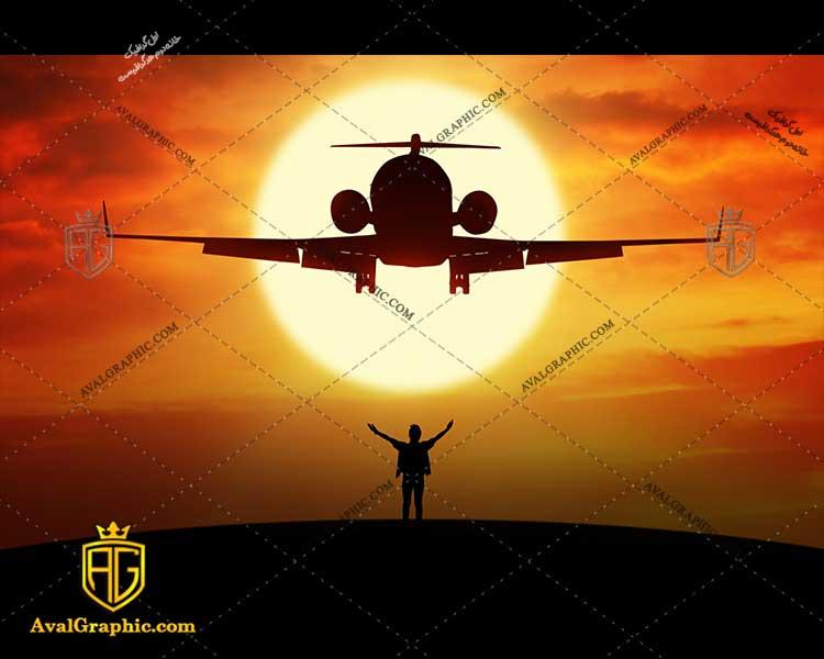 شاتر استوک غروب هواپیما رایگان