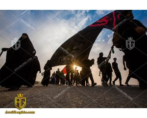 عکس پیاده روی زائران حسین مناسب برای طراحی و چاپ - عکس راهپیمایی اربعین- تصویر اربعین- شاتر استوک پیاده روی- شاتراستوک کربلا