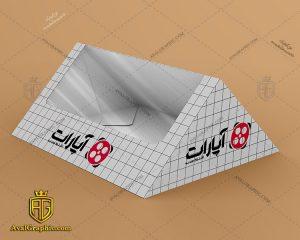 موکاپ جعبه مثلث دانلود موکاپ جعبه , موکاپ لایه باز جعبه , موکاپ گرافیکی باکس , فایل موکاپ باکس