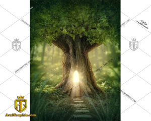 عکس با کیفیت خانه درختی نورانی مناسب برای طراحی و چاپ - عکس خانه - تصویر خانه - شاتر استوک خانه - شاتراستوک خانه