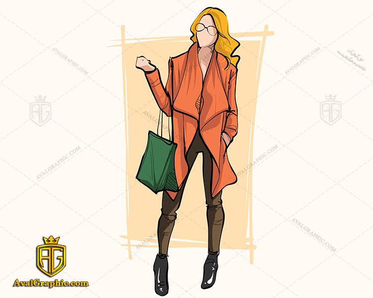 وکتور پالتو زنانه نارنجی - دانلود وکتور لباس زنانه، تصاویر برداری و طرح های برداری مناسب برای طراحی و چاپ