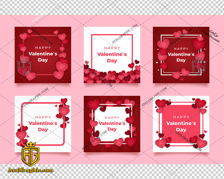 وکتور قلب 6 مدل روز عشق - دانلود وکتور قلب، تصاویر برداری و طرح های برداری مناسب برای طراحی و چاپ