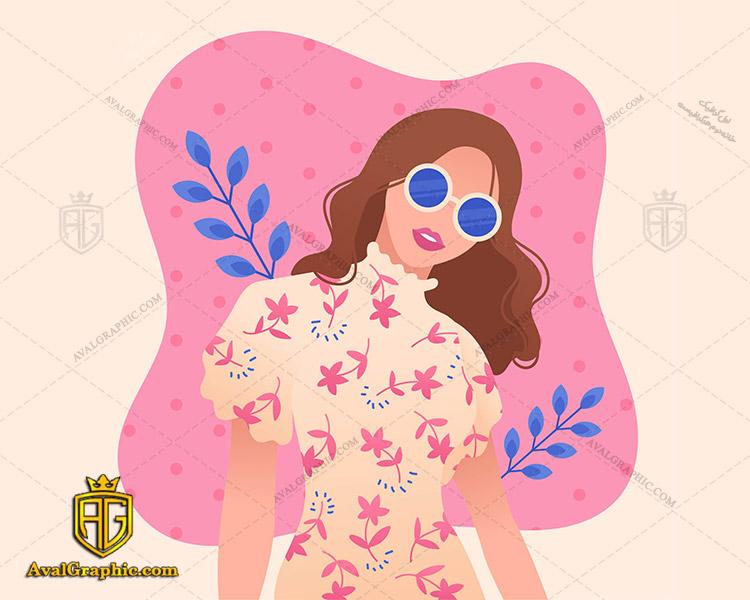 وکتور زن زیبا و لباس گل گلی - دانلود وکتور زن، تصاویر برداری و طرح های برداری مناسب برای طراحی و چاپ