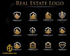 لوگوی املاک انتزاعی دو رنگ