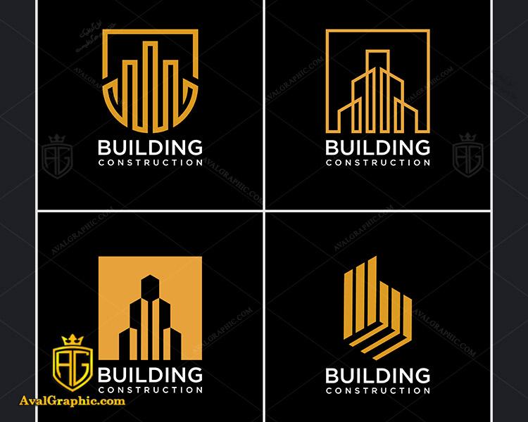 لوگو شرکت ساختمانی با طراحی چند ضلعی