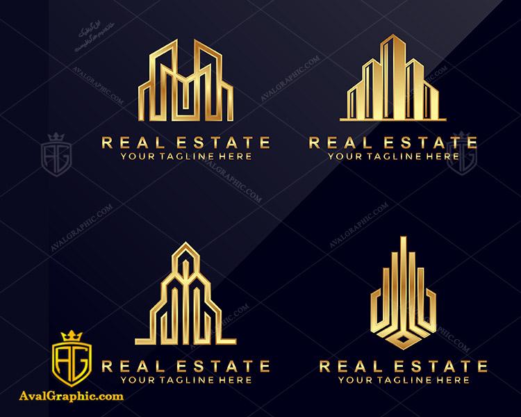 لوگو شرکت ساختمانی زیبا با رنگ طلایی