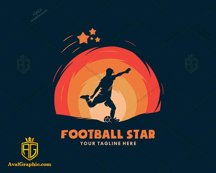 لوگو فوتبال و ستاره فوتبال