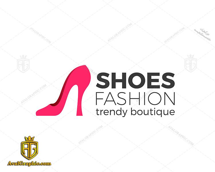 لوگو کفش فروشی با کفش زنانه صورتی