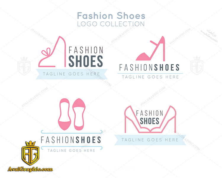 لوگو کفش فروشی با کفش صورتی پاشنه بلند