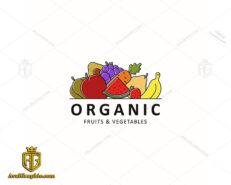 لوگو میوه و سبزی فروشی با محصولات ارگانیک