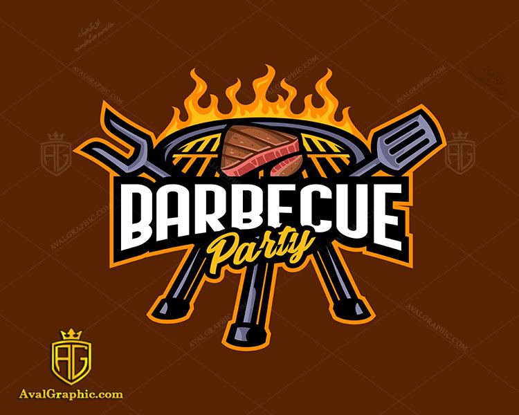 لوگو رستوران با باربیکیو و گوشت