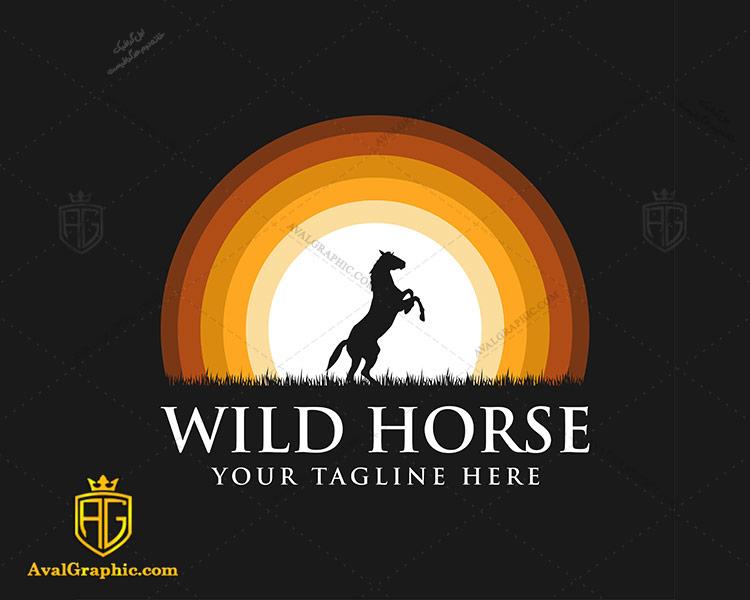 لوگو سوارکاری و اسب وحشی
