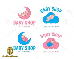 مجموعه لوگو فروشگاه سیسمونی