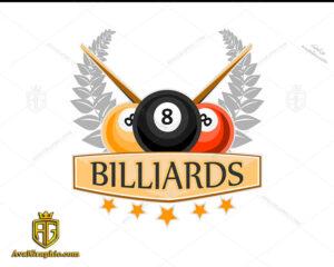 لوگو بیلیارد با توپ سه رنگ